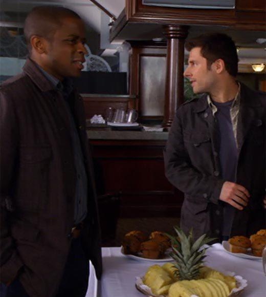 'Psych': The pineapple in (almost) every episode: There is pineapple on a fruit tray at the country club.  Bonus points: The Gus alias is Jazz Hands.  Extra bonus points: Gus, dont be principle and interest.