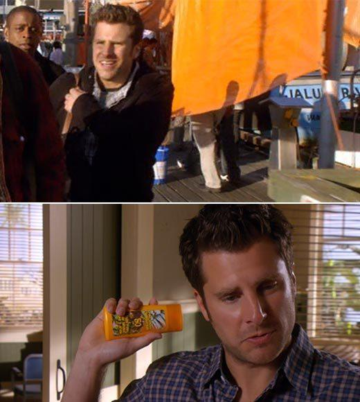 'Psych': The pineapple in (almost) every episode: There may be pineapples on the mailbox in the background on the dock, and some have claimed there is pineapple on the bottle of sunscreen.  Extra bonus points: Gus, dont be Leon from the Like a Prayer video.