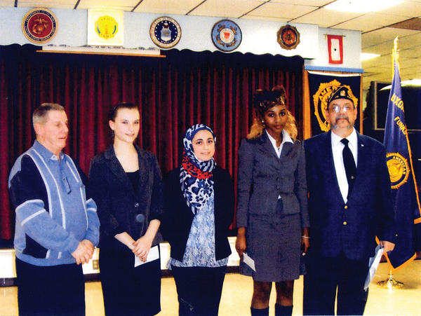 The county-level high school oratorical contest was held Feb. 14 at American Legion Post 211 in Funkstown. Attiya Latif placed first and moves on to the district-level contest in Woodsboro, Md. She also won the Legion-level contest earlier this year. From left, John Sweenie, county commander; Shelby Geraci, Boonsboro High School senior; Latif, Smithsburg High School junior; and Don Snyder, Legion oratorical chairman.