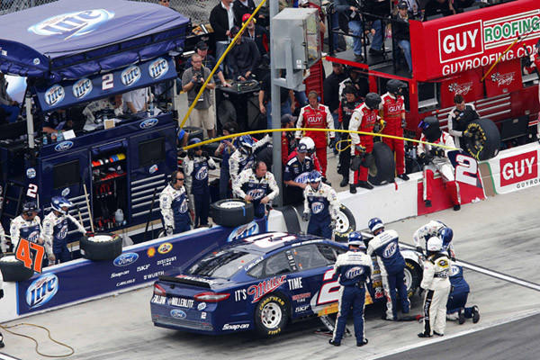 Feb 24, 2013; Daytona Beach, FL, USA; NASCAR Sprint Cup Series driver Brad Keselowski (2) comes in for a pit stop during the Daytona 500 at Daytona International Speedway. Mandatory Credit: Douglas Jones-USA TODAY Sports ORG XMIT: USATSI-128770