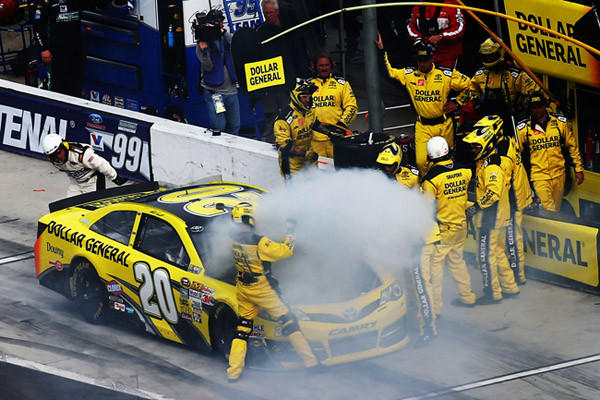 DAYTONA BEACH, FL - FEBRUARY 24: Matt Kenseth, driver of the #20 Dollar General Toyota, pits after a malfunction during the NASCAR Sprint Cup Series Daytona 500 at Daytona International Speedway on February 24, 2013 in Daytona Beach, Florida.  (Photo by Jonathan Ferrey/Getty Images) ORG XMIT: 162105721