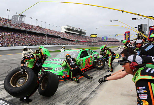 DAYTONA BEACH, FL - FEBRUARY 24: Danica Patrick, driver of the #10 GoDaddy.com Chevrolet, pits during the NASCAR Sprint Cup Series Daytona 500 at Daytona International Speedway on February 24, 2013 in Daytona Beach, Florida.  (Photo by Jerry Markland/Getty Images) ORG XMIT: 162105721