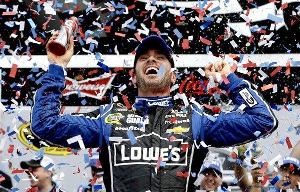 Jimmie Johnson celebrates his Daytona 500 victory on Sunday at Daytona International Speedway.