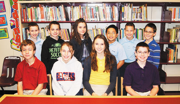 Front row, grade seven  William Sims (second place), Maelyne Patey, (first place); grade eight -- Chloe Prejean (second place) and Evan Reese (first place). Back row, grade five  Cameron Hahn (second place), Colby Reese (first place); grade six  Maja Pino (second place), Jon Lomahan (first place); grade four  Jacob Hartman (second place) and Cody Dudeck (first place).