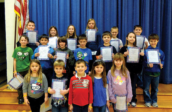 Clear Spring Elementary School hosted its second Golden Table luncheon of the school year on Jan. 31. The event honored students who demonstrated the Character Counts! pillar of respect during the months of November and December. Recognized at the luncheon were, front row, from left, Heavyn Moore, Colton Miller, Dylan Sharrah, Adair Perini and Jenna Repp; middle row, David Carr, Coleman Bragunier, Hunter Oaks, Tyler Gipe, Ian Thomas, Emily Cline and Patrick Kinman; back row, Ethan Barrett, Allyson Weaver, Grace Gossard, Shelby Kelley, Ashton Worthington and Hunter Weller. Happy Meal lunches were provided by McDonalds of Clear Spring. Luncheons are hosted by JoAnn Schiller, school counselor. Sharon Palm is school principal.