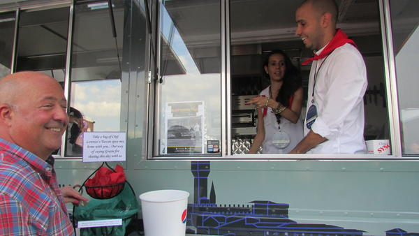 Celeb-spotting around South Florida - Andrew Zimmern at Midtown food trucks