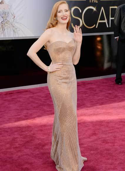Oscars 2013: Academy Awards red carpet arrival pics: Jessica Chastain