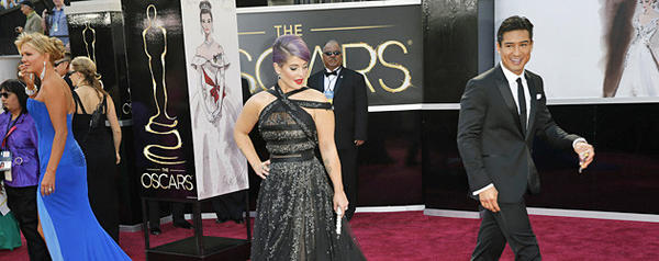 Nancy O'Dell, Kelly Osbourne and Mario Lopez  arriving for the 85th Annual Academy Awards on Sunday, February 24, 2013 at the Dolby Theatre at Hollywood & Highland Center in Los Angeles, CA.  (Jay L. Clendenin / Los Angeles Times)