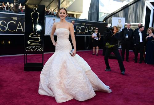 Oscars 2013 red carpet: Jennifer Lawrence in Dior Haute Couture.