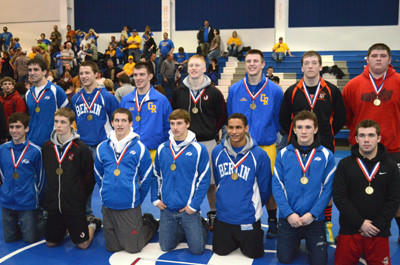 The District 5 Class AA Wrestling Tournament was held Friday and Saturday at Windber Area High School. The following wrestlers earned championships, from left, (front) Jonathan Gabriel, Bedford, 106 pounds; Bill Charlton, Meyersdale, 113; Ryan Easter, Bedford, 120; Garrett Thomas, Bedford, 126; Chris Miller, Berlin, 132; Toby Brett, Bedford, 138; Tanner Cahill (Outstanding Wrestler), Conemaugh Township, 145; (back) Tanner Williams, Bedford, 152; Bryce Fochtman, Berlin, 160; Tyler Dibert, Chestnut Ridge, 170; Gavin Berkley, Meyersdale, 182; Dan Albright, Chestnut Ridge, 195; James Bennett, Hyndman, 220; and Mitchell Hall, Tussey Mountain, 285.