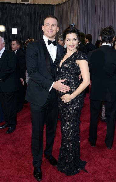 Channing Tatum, wearing Gucci, and wife Jenna Dewan.