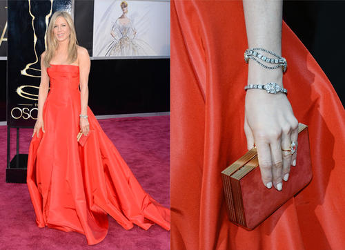Jennifer Aniston and the detail on her purse and bracelets.