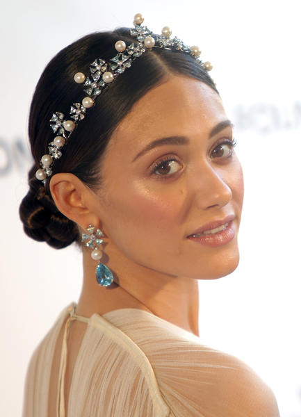 Emmy Rossum arrives for the 21st Annual Elton John AIDS Foundation's Oscar viewing party in Hollywood.