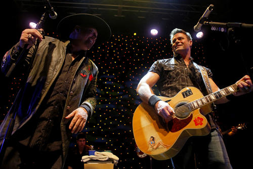 Eddie Montgomery, left, and Troy Gentry of Montgomery Gentry perform a free concert at Mount Airy Casino Resort in Mt. Pocono on Feb. 23.