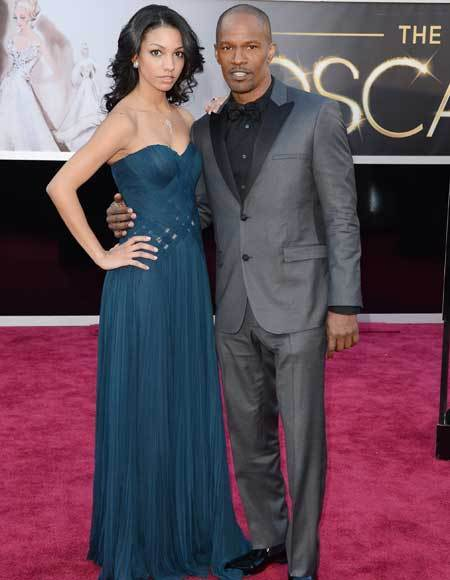 Oscars 2013: Academy Awards red carpet arrival pics: Corinne Bishop and Jamie Foxx