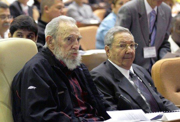 Cuban President Raul Castro, right, and brother Fidel attend the opening session of the National Assembly in Havana.