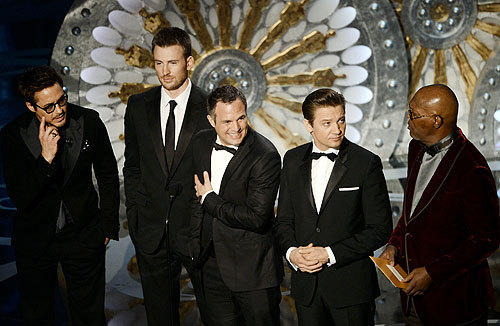 Oscars 2013: The best and worst moments: The Avengers was only up for one Oscar -- Best Visual Effects -- and it ended up being five cast members from the movie who had to announce that the Marvel movie lost. Robert Downey Jr., Chris Evans, Mark Ruffalo, Jeremy Renner and Samuel L. Jackson came together to announce Life of Pi won Best Cinematography and Best Visual Effects, but it was Downey and Jacksons faux bickering that ultimately stole the show.   -- Terri Schwartz, Zap2it