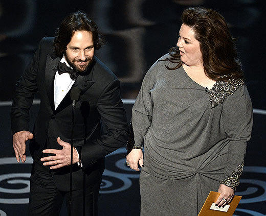 Oscars 2013: The best and worst moments: Paul Rudd and Melissa McCarthy are funny actors. They may have even been funny at the 85th Academy Awards. Its hard to say, since we couldnt understand most of what they said while presenting awards toward the beginning of the ceremony.   -- Laurel Brown, Zap2it
