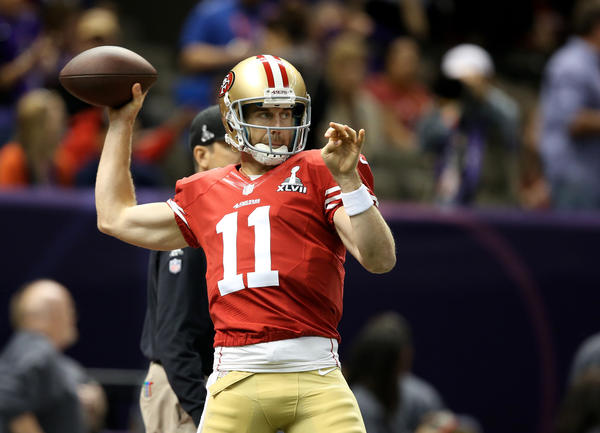 San Francisco 49ers quarterback Alex Smith (11) warms up against the Baltimore Ravens in Super Bowl XLVII at the Mercedes-Benz Superdome. Mandatory Credit: Mark J. Rebilas-USA TODAY Sports