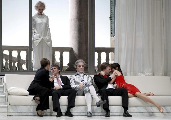 "A scene from the Michael Haneke-directed production of Mozart's ""Cosi Fan Tutte,"" which debuted Saturday at the Teatro Real Madrid."