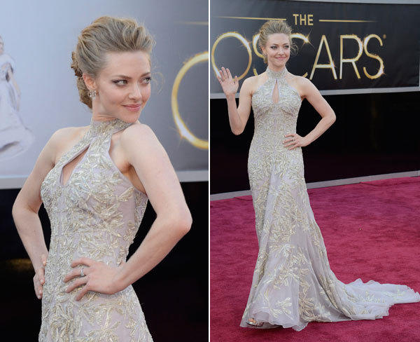 Amanda Seyfried once again chose to wear a gown that washes her out, in this case an Alexander McQueen.
