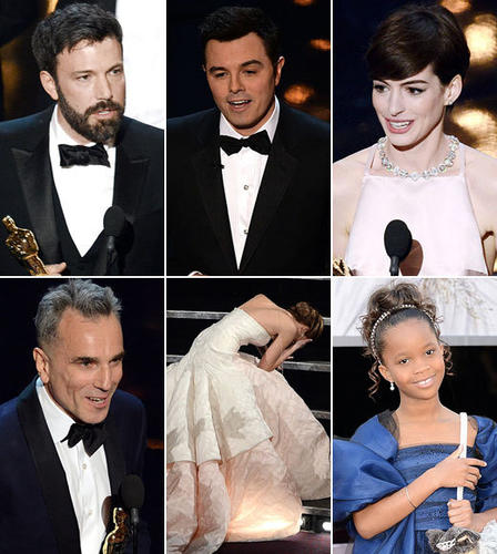 "For giving us <i>a lot</i> to talk about after a very up-and-down Oscar ceremony in 2013. Host Seth MacFarlane was hit and miss. Speeches ranged from heartfelt to heard-it-before, and the red carpet was full of beautiful (and questionable) dresses.<br><br> Here are <a href=""http://www.zap2it.com""><b>Zap2it</b></a>'s best and worst moments from the Oscars."