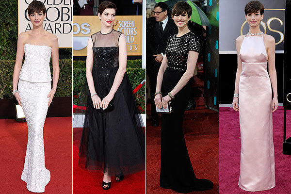 Supporting actress nominee Anne Hathaway at this year's 70th Golden Globes, from left, the 19th Screen Actors Guild Awards, the BAFTA awards and the 85th Academy Awards.