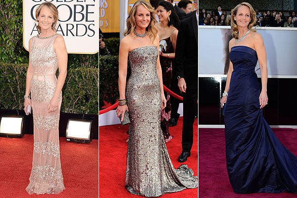Supporting actress nominee Helen Hunt at the 70th Golden Globes, the 19th Screen Actors Guild Awards and the 85th Academy Awards.