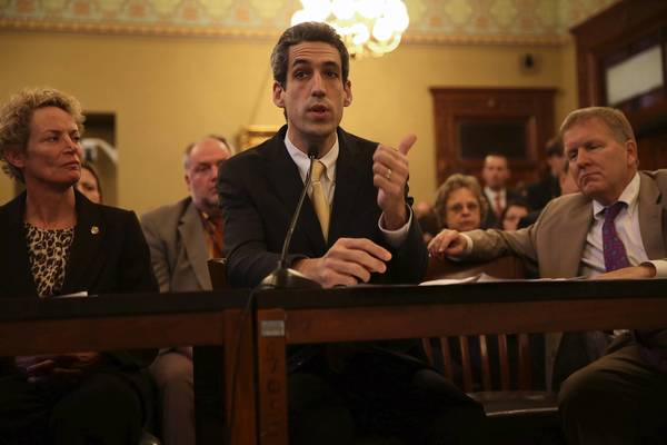 Illinois state Sen. Daniel Biss, center (seen last session), has offered a 2013 bill for regulating drones.