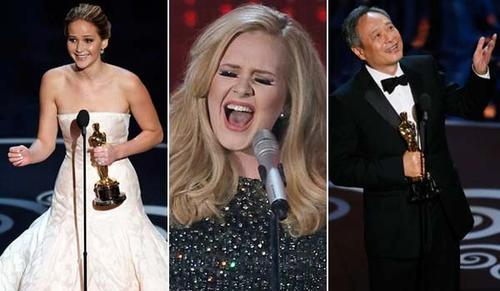 "Jennifer Lawrence, Adele, Ang Lee and more took home Oscar statuettes at the 85th Academy Awards on Sunday, Feb. 24, 2013. The star-studded event, hosted by comedian Seth MacFarlane, included musical numbers and big wins for ""Argo"" for best picture, Daniel Day-Lewis for lead actor and Jennifer Lawrence for lead actress. Here's a look at some highlights from the show."