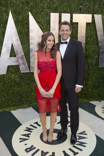 """Saturday Night Live"" writer and star Seth Meyers, right, and girlfriend Alexi Ashe."