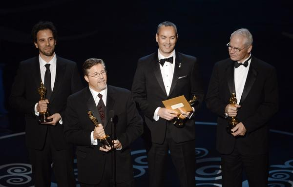 "Artists from the visual effects house Rhythm & Hues won the Oscar for visual effects for ""Life of Pi,"" marking an important moment in the company's tense recent history (it filed for bankruptcy protection earlier this month). But in yet another squirm-inducing moment for the ceremony, the winners were loudly and aggressively played offstage by the ""Jaws"" theme just as winner Bill Westenhofer attempted to address their company's situation. Even Keith Urban was left shaking his head in the audience."