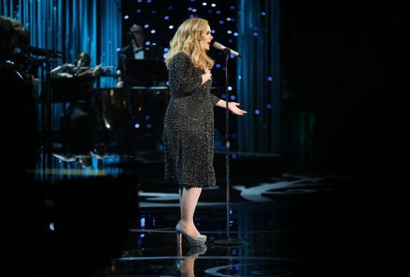 "Adele sings ""Skyfall"" at the Academy Awards."