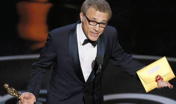 Christoph Waltz accepts his supporting actor Oscar.