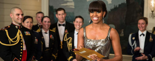 First Lady Michelle Obama announces the Best Picture Oscar to Argo live from the Diplomatic Room of the White House.
