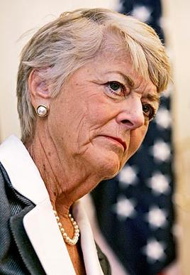 Geraldine Ferraro at a news conference before a fundraising lunch hosted by a congresswoman in Chicago.
