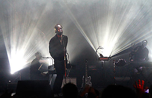 Pontus Winnberg, left, Andrew Wyatt and Christian Karlsson of Miike Snow at the Wiltern Theatre.