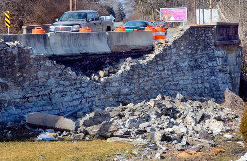 A portion of a stone bridge on Frederick Street near Funkstown was damaged early Sunday morning when it was struck by a car.