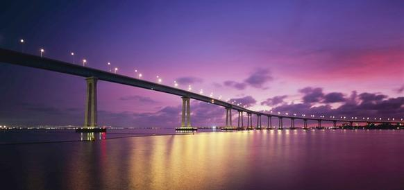 Sunset over Coronado Bridge in San Diego.