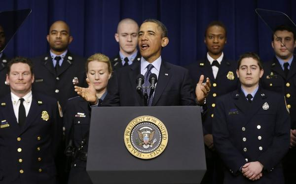 President Obama talks about sequestration in Washington, accompanied emergency responders, a group of workers the White House says could be affected as a result of the budget cuts.