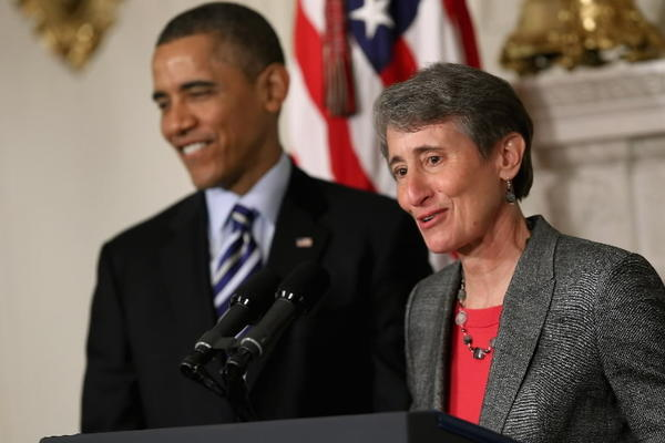 REI Chief Executive Officer Sally Jewell, right, delivers remarks after being nominated by President Barack Obama to be the next Secretary of the Interior.
