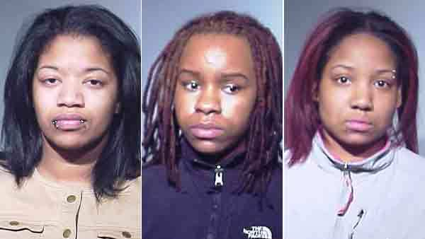 Booking photos of Erica Riley, Leah Robinson, and Aliyah Thompson (from left)