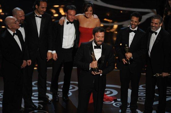 """Argo"" director Ben Affleck and some of the movie's principals accept the Oscar for best picture."