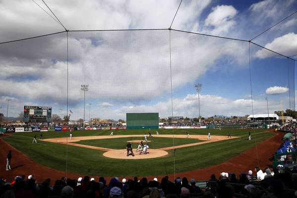 The scene as the Chicago Cubs play against the San Francisco Giants in the late innings of a Cactus League game at HoHoKam Park in Mesa, Ariz. on Sunday.
