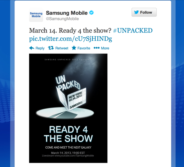 Samsung is set to unveil the Galaxy S IV on March 14.