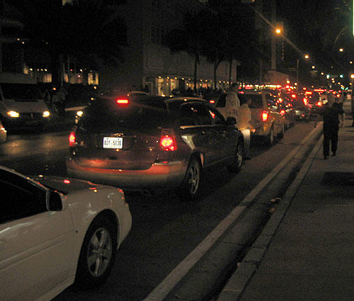 """Bumper-to-bumper traffic on A1A (<a href=""""http://www.youtube.com/watch?v=5IXcdv2mKFQ"""" target=""""_blank"""">Beach Front Avenue</a>!!!) at around 7 p.m."""
