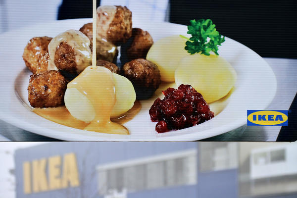 Meatballs in a photo in front of an Ikea store in the Czech Republic. Czech regulators discovered traces of horse meat in frozen Swedish meatballs sold by Ikea in Europe.