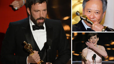 Ben Affleck, from left,  Ang Lee and Anne Hathaway show off their Oscars from the 85th annual Academy Awards. (Robyn Beckrobyn/Getty, Mike Blake/Reuters, Robert Gauthier/Los Angeles Times)