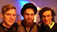 Last Bison members Amos Housworth, Benjamin Hardesty and Jay Benfante at Virginia Arts Festival's headquarters in Norfolk, Feb. 24, 2013.