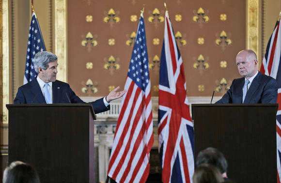 Secretary of State John Kerry with Foreign Secretary William Hague